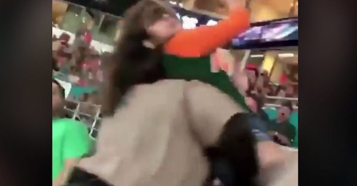 Miami fan took a swing at a cop, who appeared to knock her out cold