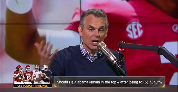 Colin Cowherd predicts who will win the College Football Playoff, and it isn't Alabama