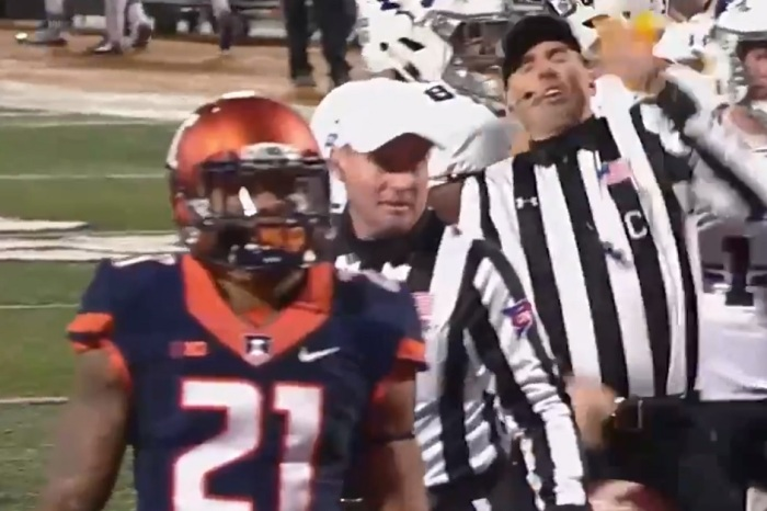 Big Ten player ejected after hilariously throwing a flag at a referee's face