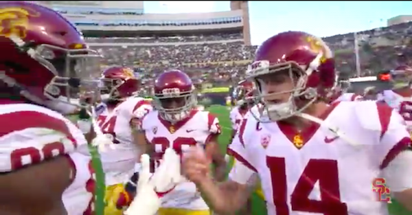 USC wide receiver suddenly vanishes off camera in bizarre fashion
