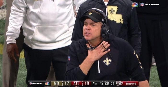 "Falcons player responds after ""choking"" gesture from Saints head coach Sean Payton"