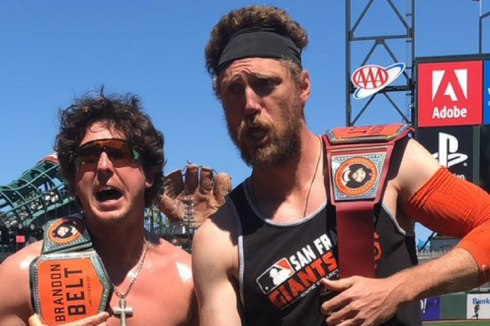 Giants Players Go All WWE to Get Brandon Belt to the All-Star Game
