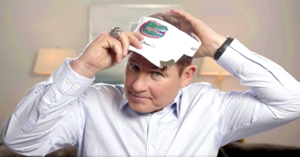 Les Miles Honors Social Media Bet, Dons Steve Spurrier's Gators Visor