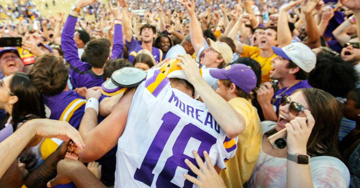 LSU Fan Takes Home Epic Souvenir After Storming the Field