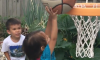 Sibling Basketball Shot