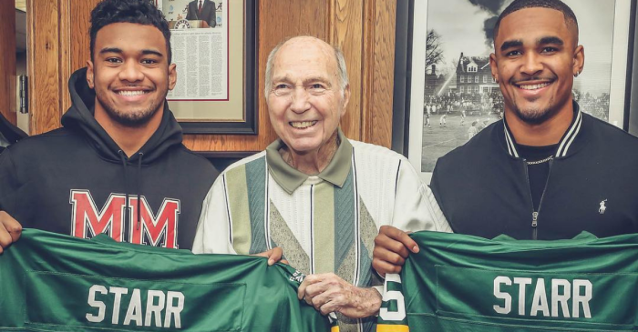 LOOK: Alabama's Star Quarterbacks Meet a Living Legend