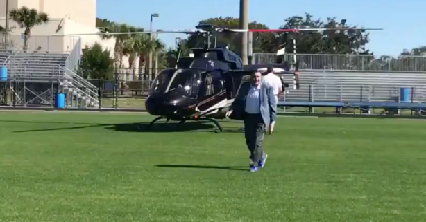Florida's Dan Mullen Pulls Up in a Helicopter to Visit a Top Recruit