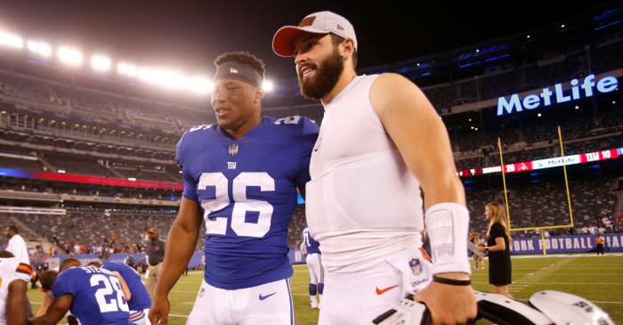 Baker Mayfield Pays Off Rookie of the Year Award Bet to Saquon Barkley