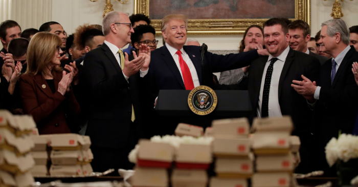 President Trump Serves Fast Food to National Champs… Again
