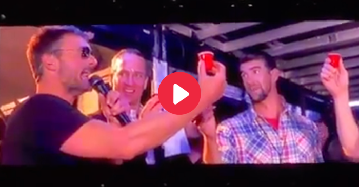 Eric Church Rips Shots with Peyton Manning and Michael Phelps