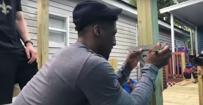 WATCH: Saints Stars Help Build Ramp at Disabled Man's Home