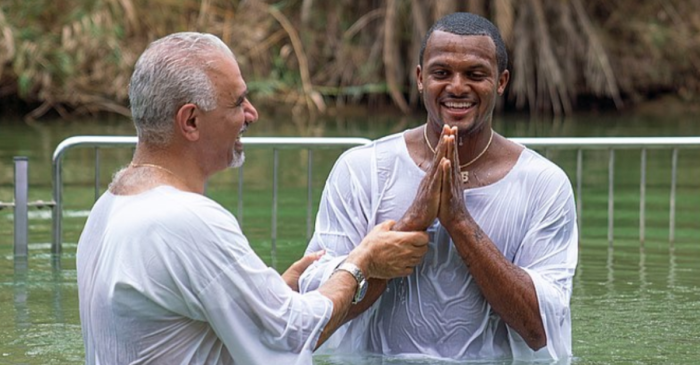 LOOK: Deshaun Watson Gets Baptized in Israel
