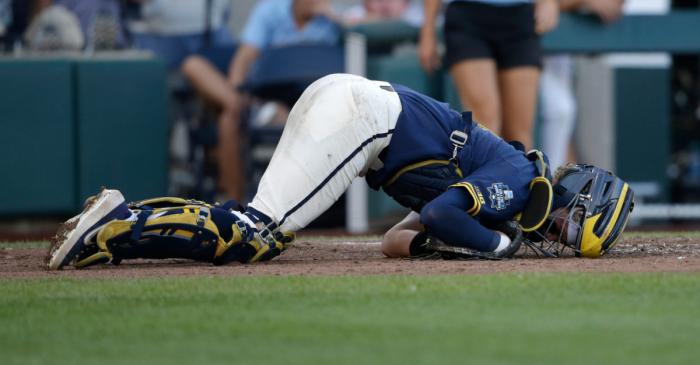 WATCH: Michigan Catcher Gets Hit Where the Sun Doesn't Shine