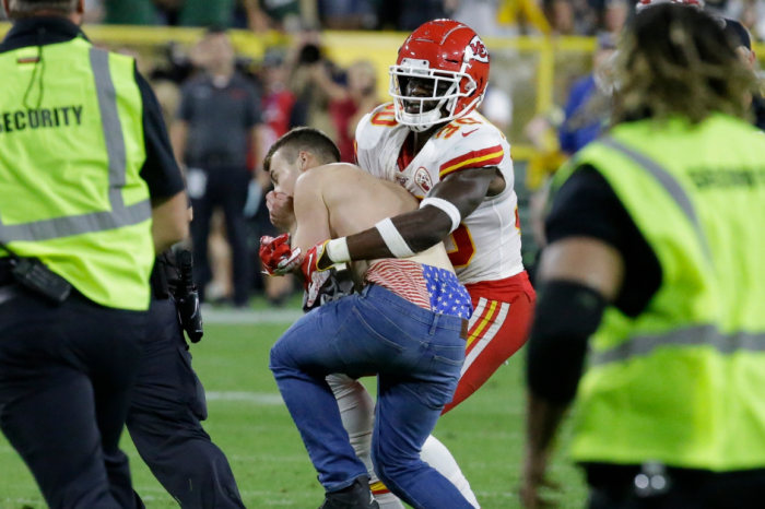 WATCH: Shirtless Idiot Tackled by Chiefs Player During Preseason Game