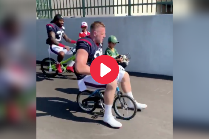 J.J. Watt Riding a Tiny Bicycle is the Viral Video We All Deserve