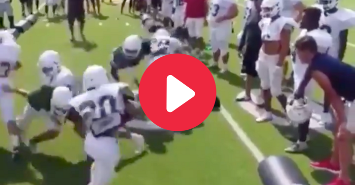 HS Linebacker Powerbombs Helpless Teammate in Practice Drill