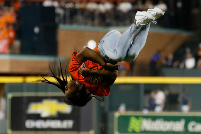 Simone Biles' First Pitch Backflip Steals the Show at World Series