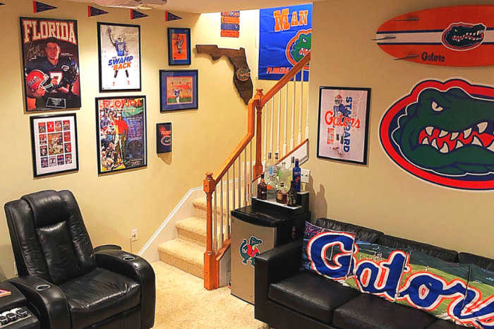 """This Epic Florida Gators Man Cave Brings """"The Swamp"""" to the Basement"""
