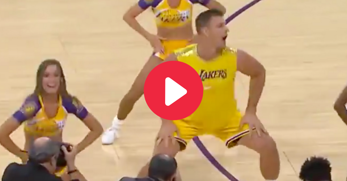 Gronk Shakes His Booty With Laker Girls During Halftime Show