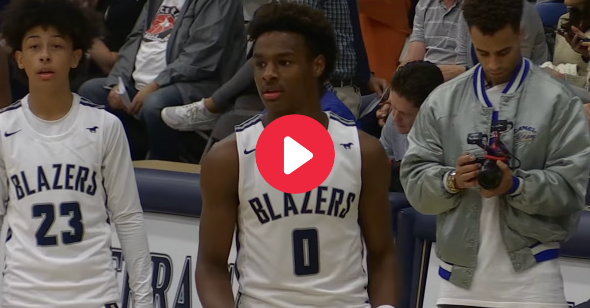 Bronny James Throws Down Alley-Oop in First HS Start
