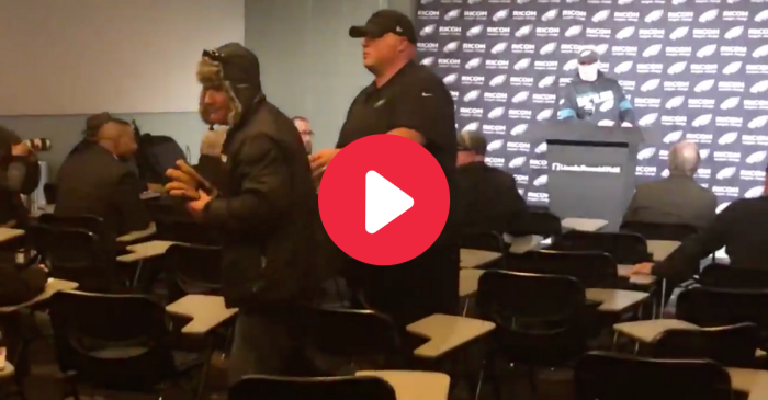 Drunk Eagles Fan Crashes Postgame Press Conference
