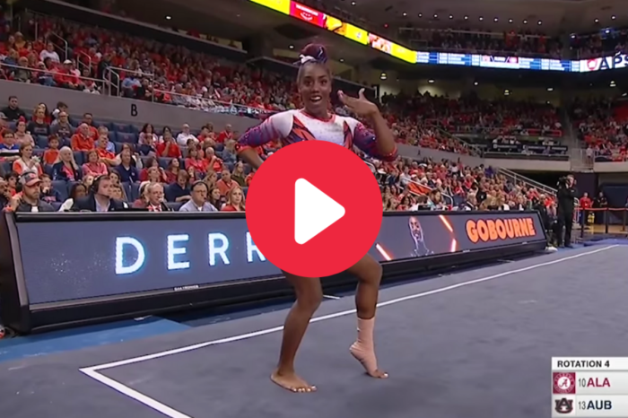 "Auburn's ""Gymnastics Iron Bowl"" Walk-Off Floor Routine Never Gets Old"