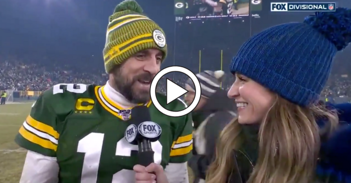 "Erin Andrews Calls Aaron Rodgers ""Old Man"" for His Drink of Choice"