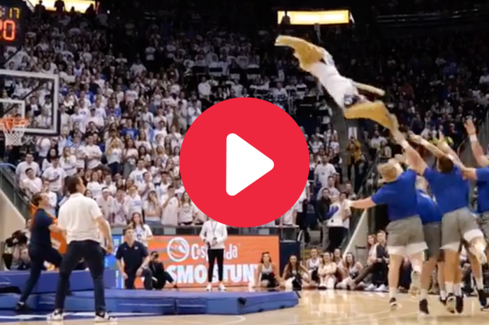 BYU Mascot Goes Flying for Amazing 3-Point Line Dunk