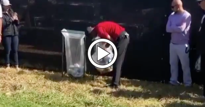Tiger Woods Digs Horrible Tee Shot Out of Trash Can