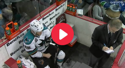 Flasher Presses Her Goods Against Penalty Box Glass