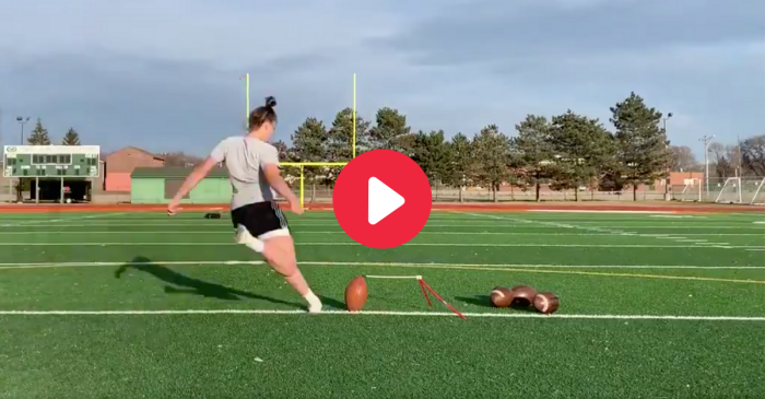 Female Kicker Nails 55-Yard Field Goal With Nasty Crosswind