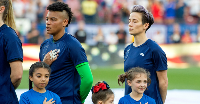 American Women Hide U.S. Soccer Logo During Anthem in Protest