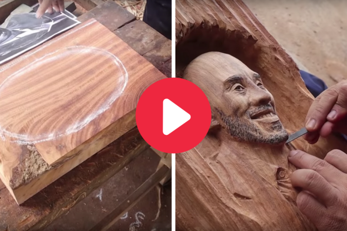 Woodworker Carves Stunning Portrait of the Late Kobe Bryant