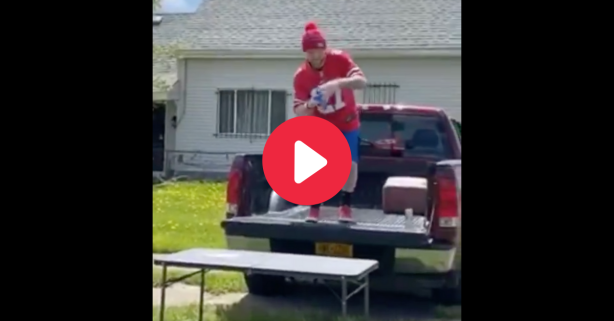 Bills Fan Jumps Through Folding Table for Gender Reveal