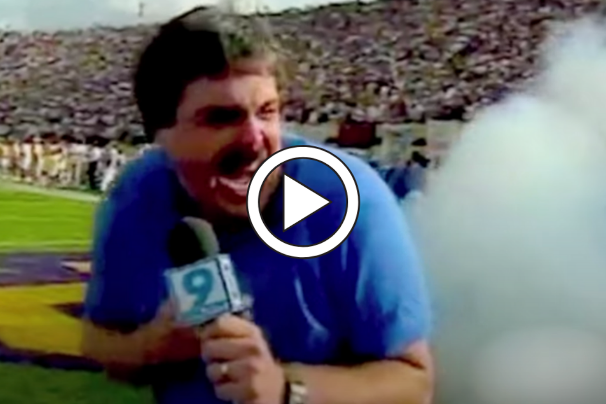 Sideline Reporter Cusses After Cannon Blast in Classic Blooper