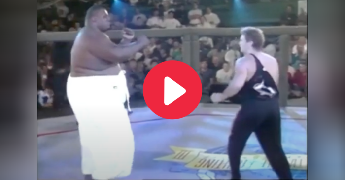 600-Pound MMA Fighter Takes On Puny Man, Inexplicably Loses