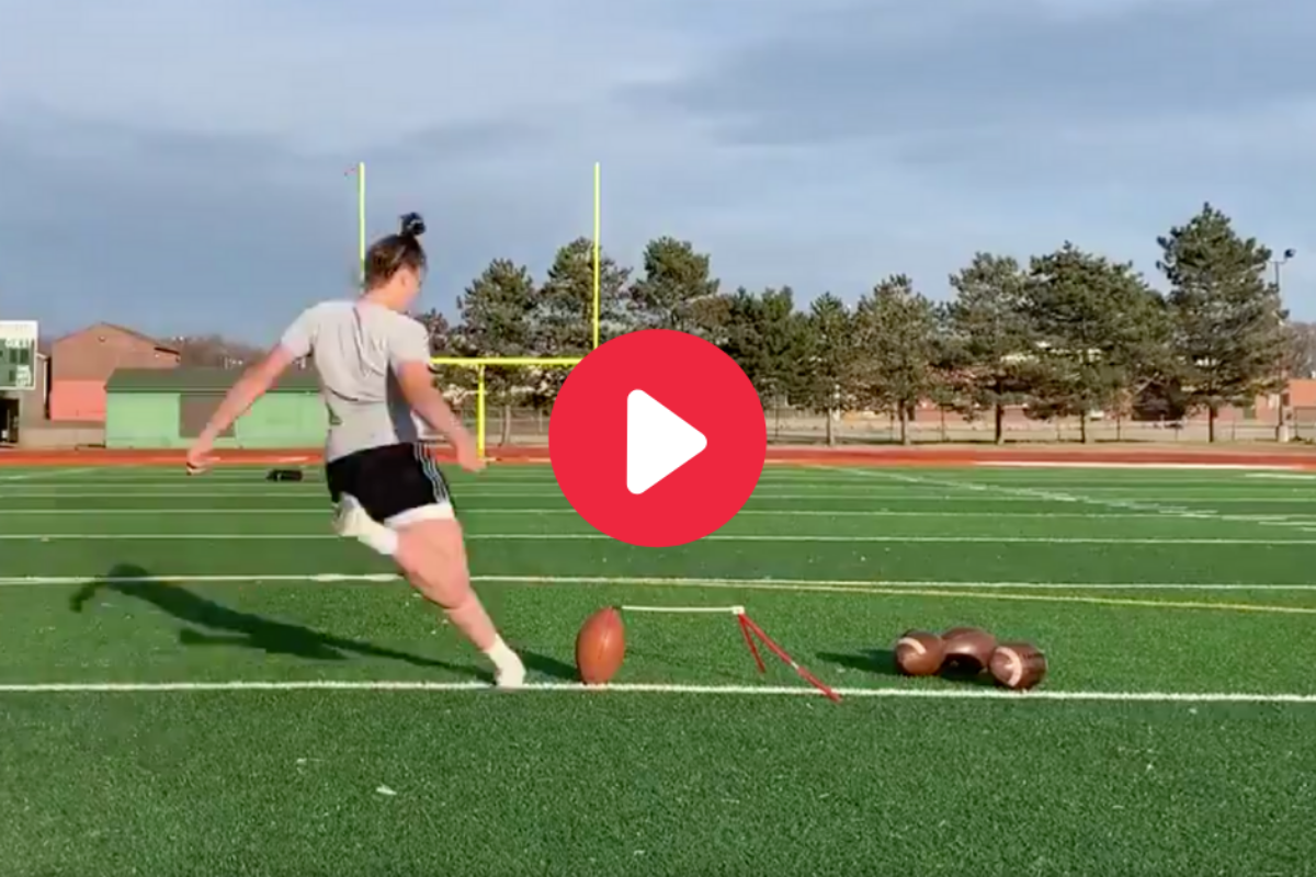 Female Kicker Nails 55-Yard Field Goal With Nasty Crosswind