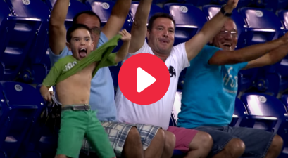 Kid Loses His Mind When Jumbotron Camera Finds Him