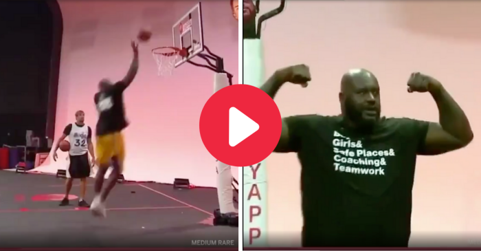Shaq Effortlessly Breaks Rim While Playing Horse With Gronk