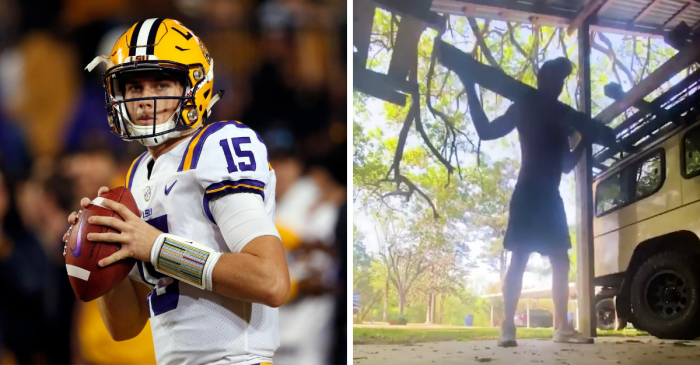 LSU's QB Spent Lockdown Cutting Down Trees and Squatting Them