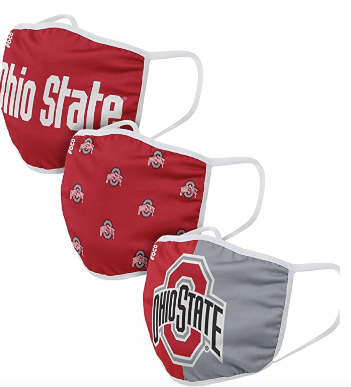 FOCO NCAA Unisex-Adult College Team Logo Reusable Washable Fashion Cloth - 3 Pack