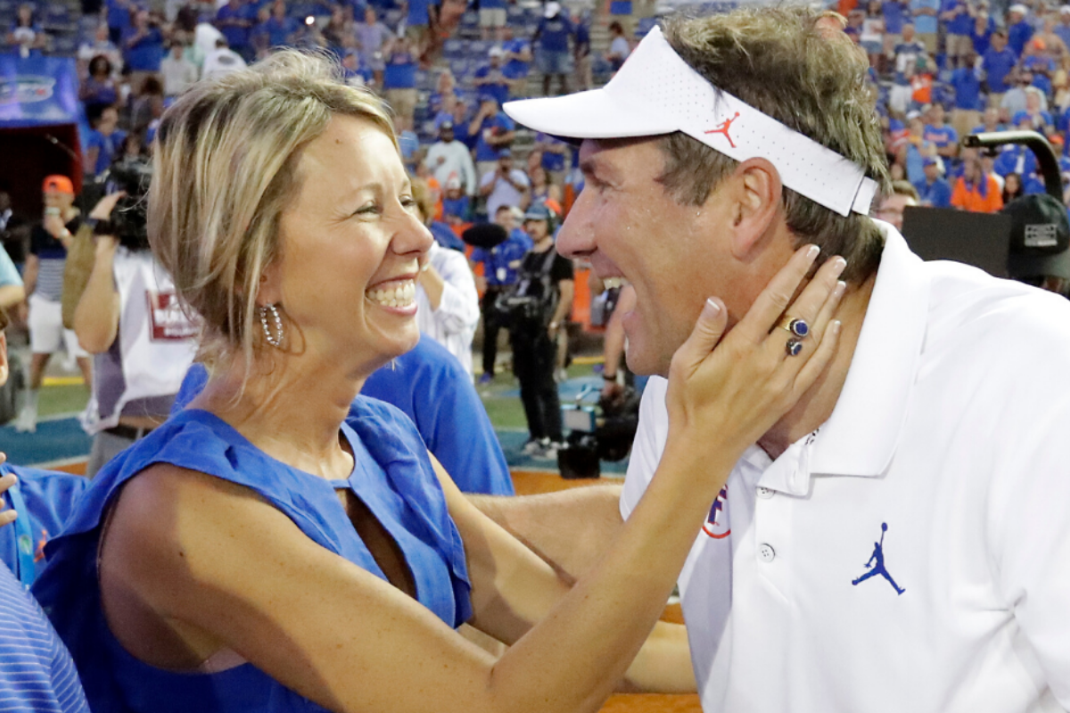 Dan Mullen's Wife Hugs and Kisses Florida Players on Game Day