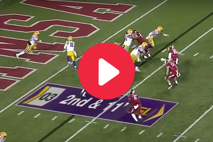 Derrius Guice's 96-Yard Record Run Turned Arkansas Players Into Bystanders