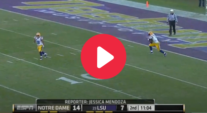 Leonard Fournette's 100-Yard Return Against Norte Dame Nearly Went Untouched