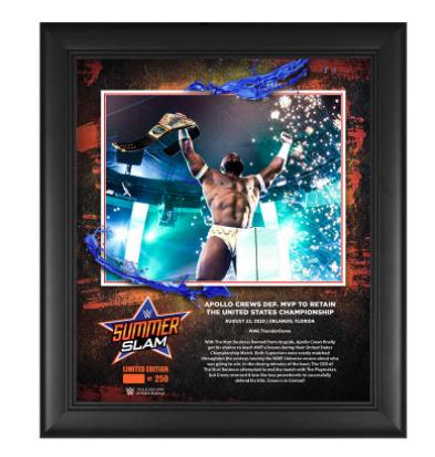 Apollo Crews SummerSlam 2020 15x17 Commemorative Plaque