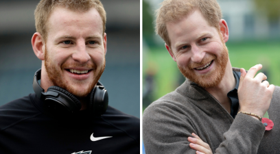 Carson Wentz & Prince Harry Look Like Long-Lost Brothers