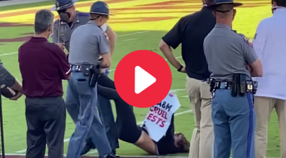 PETA Protestor Tackled, Dragged Off Field at SEC Game