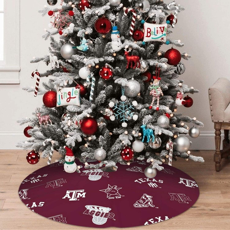 HevenJx Christmas Tree Skirt Texas A&M Xmas Holiday Tree Skirt Ornaments Christmas Party Home Decorative