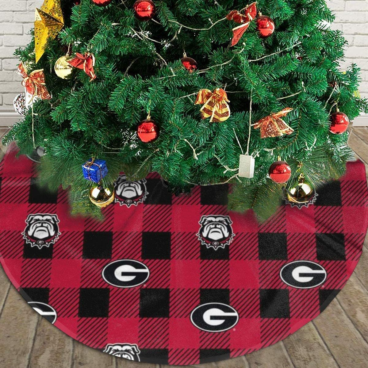 NYF Christmas Tree Skirt Georgia Bulldog Check Tree Skirt Christmas Decoration Handicraft for Xmas Holiday Party