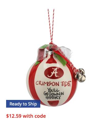 Alabama Crimson Tide Ceramic Team Ball Ornament